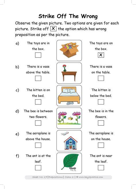 grade  english worksheets prepositions keypractice