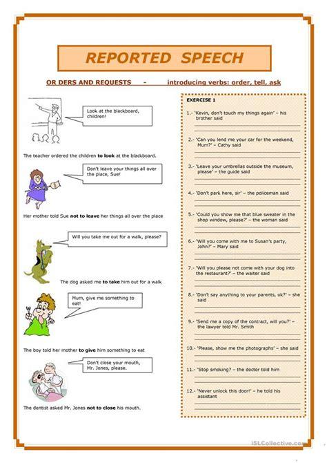 reported speech worksheet  esl printable worksheets