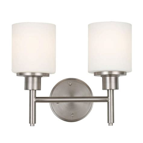 design house 2 light satin nickel indoor wall mount light 556191 the home depot
