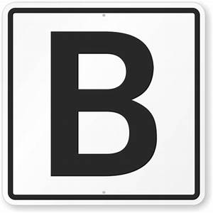 parking spot sign with letter b sku k 6373 With letter b sign