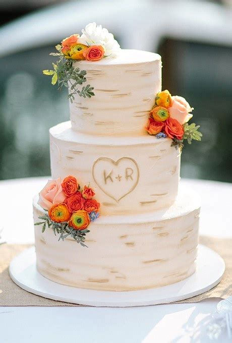 Three Tiered Tree Inspired Wedding Cake Brides
