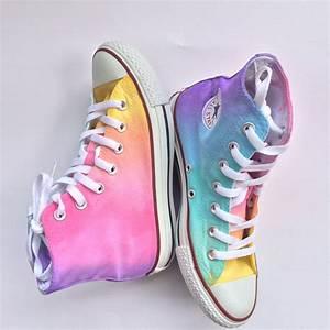 Pastel Rainbow High Top Converse Tie Dye ~ idolza