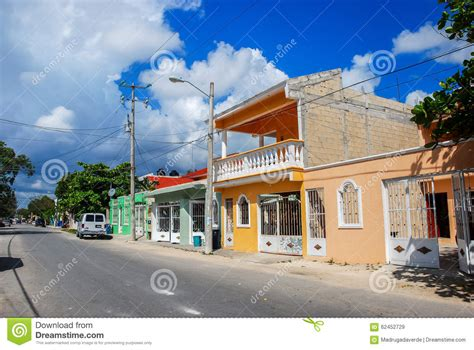 colonial home plans empty of town tulum in mexico stock photo