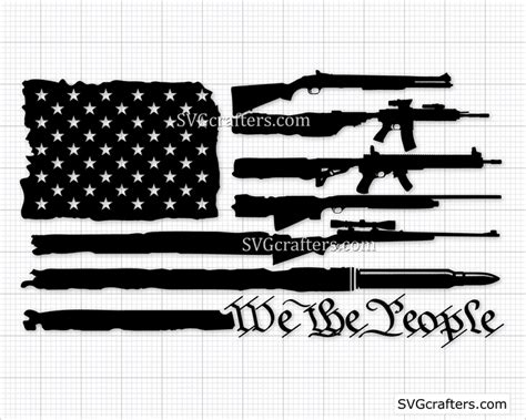 Gun flag usa united states america pistol rifle bullet firearm american weapon rights freedom law design art logo svg png clipart vector cut. American Flag made with Guns SVG, Gun flag svg   SVGcrafters
