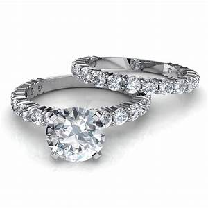 Shared prong engagement ring matching wedding band for Halo engagement rings with wedding bands