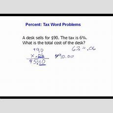 Percent Tax Word Problems Youtube