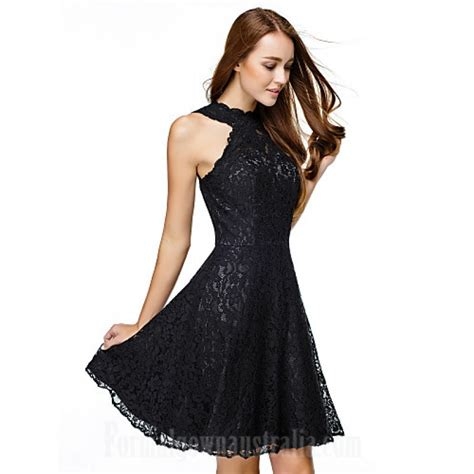 Australia Cocktail Party Dress Black Aline Jewel Short