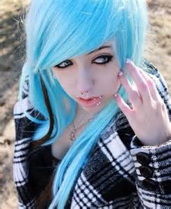 Emo Girl with Ice Blue Hair