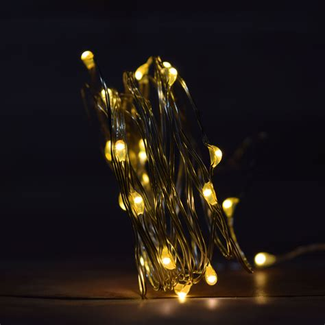 20 Warm White Led Fairy Wire Waterproof String Lights W