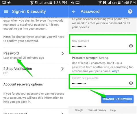 change password on android phone how to change your gmail password ubergizmo