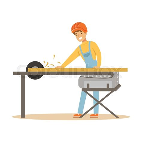 carpenter man cutting  wooden plank stock vector