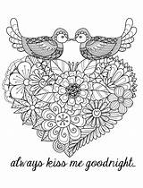 Coloring Pages Adults Valentines Kiss Goodnight sketch template