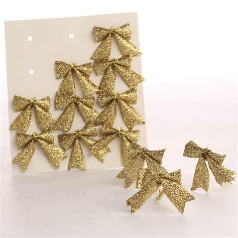 small gold glitter bow embellishments christmas