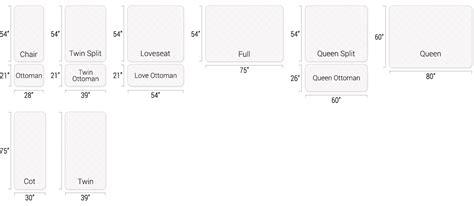Futonland  Sizing Charts For Mattresses And Futon