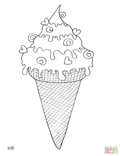 ice cream cone coloring page  printable coloring pages