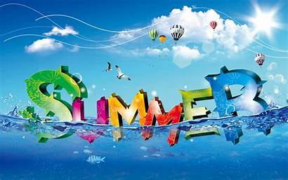 Summer Water Colorful Fresh Letter Backgrounds Cool
