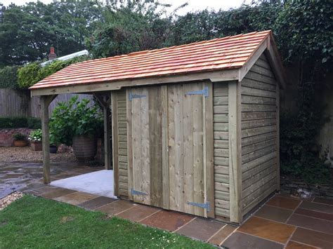Shed With Log Store   The Oakford   The Wooden Workshop