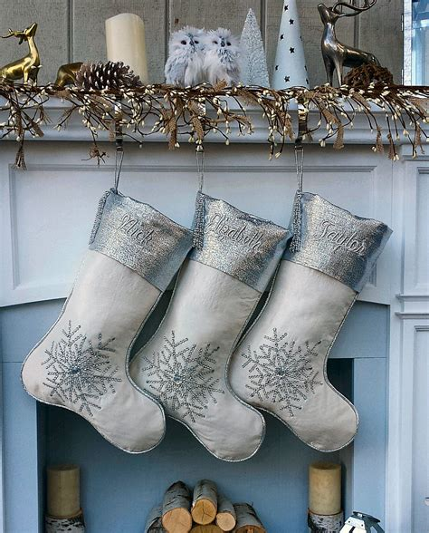 silver and white christmas stockings white silver snowflake personalized