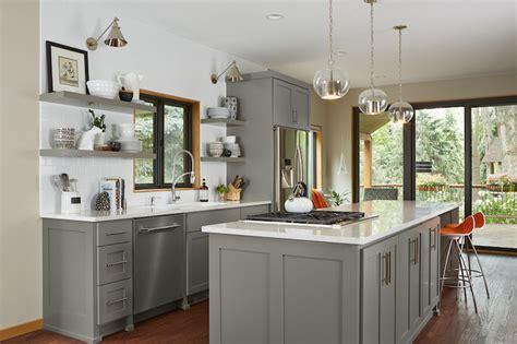 gray floating shelf transitional kitchen benjamin