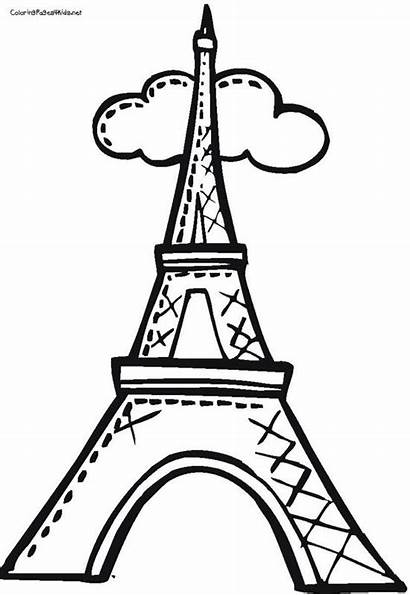 Eiffel Tower Coloring Drawing Pages Towers Easy