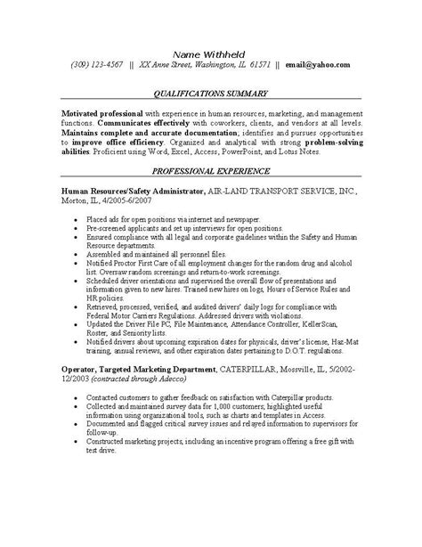 resume examples  safety professionals human resources