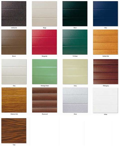 seceuroglide insulated roller door colour chart