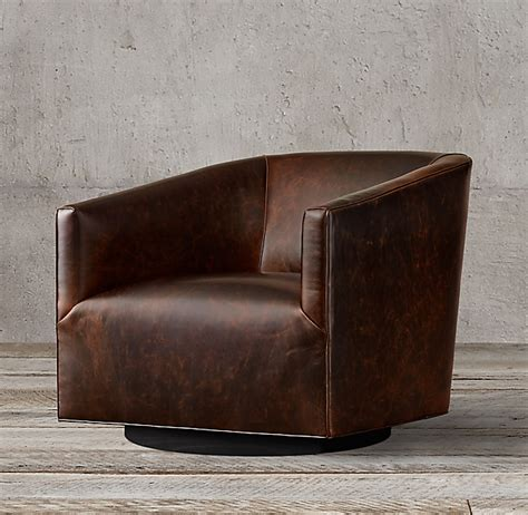 italian shelter arm leather swivel chair