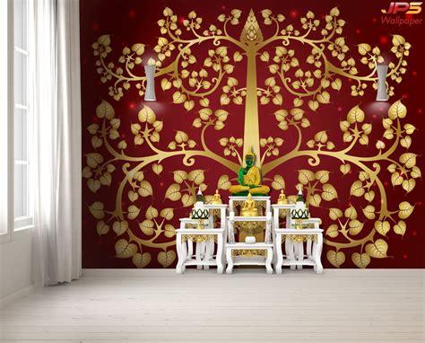 ร้านวอลเปเปอร์ ลายไทยต้นโพธิ์ทอง พื้นหลังสีแดง