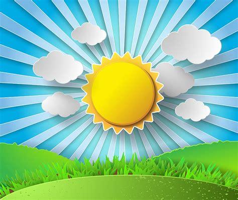 paper stickers effect  sunburst landscape vector