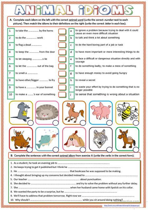 animal idioms worksheet  esl printable worksheets