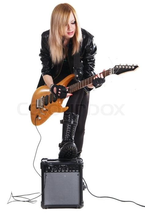 Teenage Girl Playing Electric Guitar, White Background  Stock Photo Colourbox