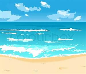 Illustration beautiful summer background with beach ...