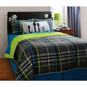 your zone mad plaid reversible bedding set with statement