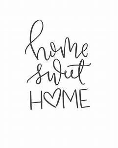 home sweet home brush script quote digital print With house lettering script