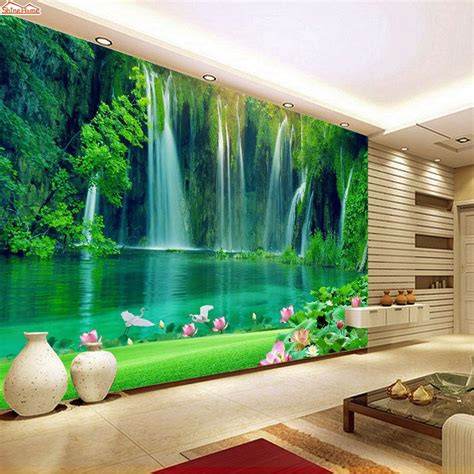 shinehome modern waterfall natural wallpaper roll