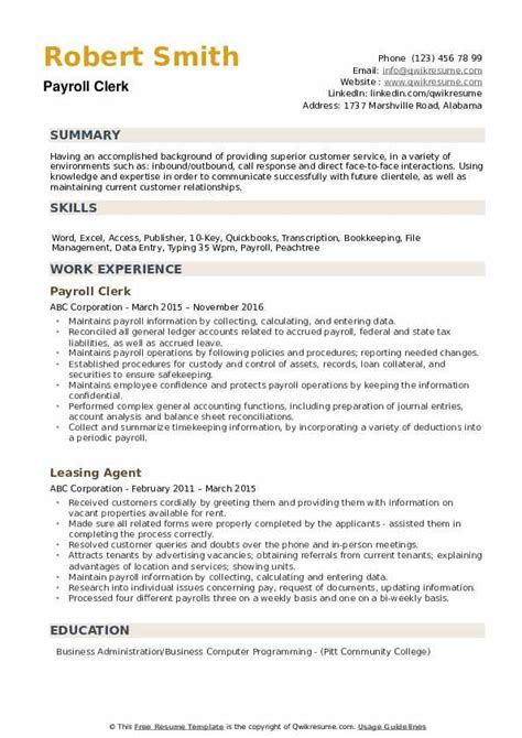 Payroll Resume by Payroll Clerk Resume Sles Qwikresume