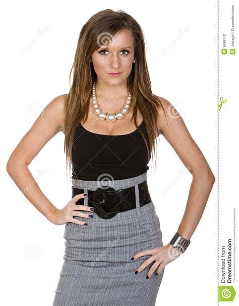 vetement de bureau pour femme femme mignon dans le vêtement de bureau photographie stock