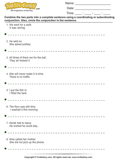Sentence Combining Worksheet  Turtle Diary