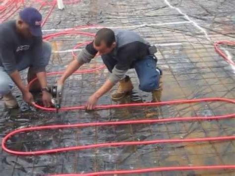 Installing PEX tubing for infloor radiant heating with a