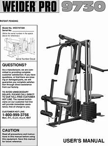 Weider Pro 9730 System Wesy9730 Users Manual