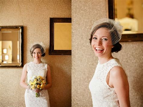 Birdcage Veils, Short Lace Wedding Dress And Veils On