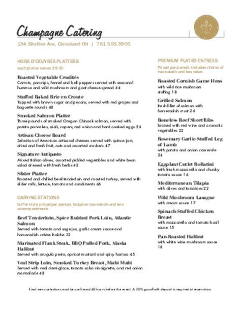 catered wedding reception menu catering menus
