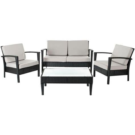 Safavieh Patio Furniture by Safavieh Piscataway Black 4 Wicker Patio Seating Set
