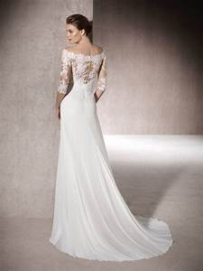 3 4 sleeve long fitted off the shoulder bridal dress by st With 3 4 sleeve wedding dress