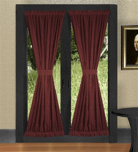 ELEGANT AND SOLID BURGUNDY WINE COLOR FRENCH DOOR CURTAINS