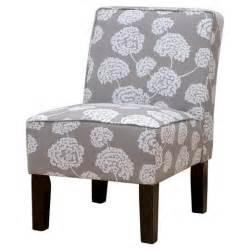 burke accent print slipper chair toile flora light gray