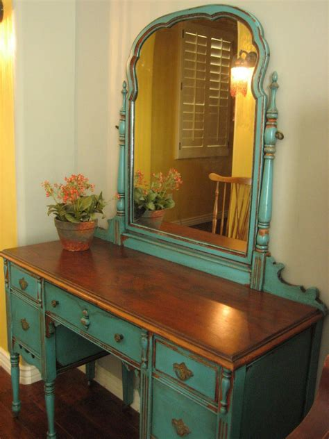 european paint finishes chippy teal vanity for the