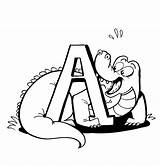 Alligator Coloring Pages Printable Cartoon Clipart Cliparts Clip Bestcoloringpagesforkids Library sketch template