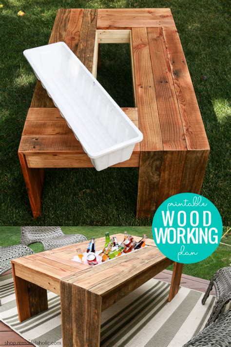 diy outdoor coffee table  drink cooler woodworking plan remodelaholic