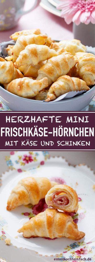 mini frischkaese hoernchen mit kaese und schinken
